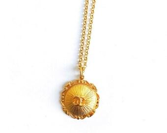 Large Vintage Gold Filled Designer Button Necklace