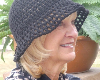 Women's chemo hat, all cotton comfortable hat with a brim, original black crochet hat, a great hiking hat, free shipping USA