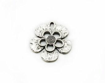 Flower Metal Pendant, Antiqued Flower Pendant, Large Pendant, Jewelry Supply, DIY Pendant, Metal Pendant, Jewelry Making