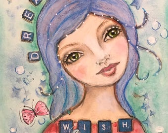 Dream it, Wish it...fantasy, Original Painting, ooak 8x10, Watercolor/acrylics