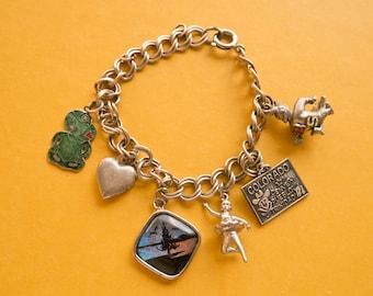 Vintage Travel Charm Bracelet Colorado / Ballet / Locket / Charms