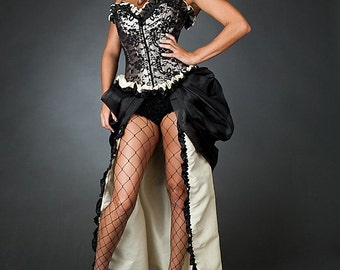 Custom Size Black and Ivory lace burlesque corset prom wedding dress