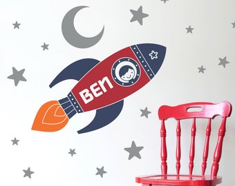 Rocket Wall Decal Boy's Name Outer Space Nursery Kids Room Decor