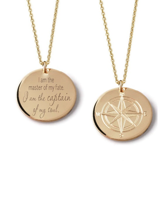 Compass rose custom engraved layering pendant necklace 14k like this item mozeypictures Gallery