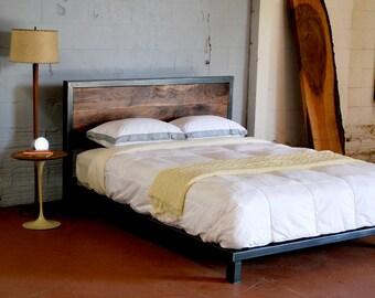 Kraftig Platform Bed with Rough Walnut Headboard