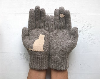 Cat Lover Gift, Women's Gloves, Winter Sale, Pet Lover Gift, Gift For Her, Anniversary Gift, Mother's Day Gift, Cat Mitten, Birthday Gift