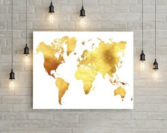 Gold World Map Print Gold Glitter Wall Art World Map Wall Art Travel Wall Decor World Map Poster Travel Map Print Gold Nursery Wall Art