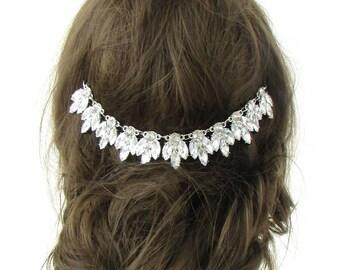 Silver Diamante Art Deco Bridal Headpiece Hair Vine Wedding Headband Vintage 510