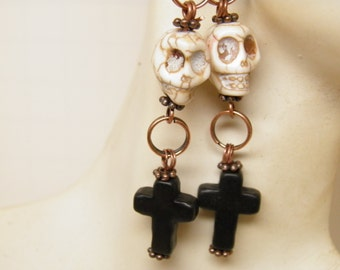 Day of the Dead Earrings, Turquoise Black Cross with White Sugar Skull Jewelry, Day of the Dead Jewelry, Skull Earrings, Goth Jewelry, Skull