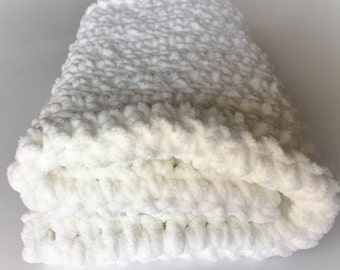 White Baby Blanket, Crochet Baby Blanket, White Blanket, Photo Prop, Car Seat Blanket, Stroller Blanket, Free Shipping, Baby Shower Gift