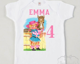 Cowgirl Birthday Shirt - Cowgirl Party Shirt - Pink Girl Texas - Custom Size Tee Retro - Girl Vintage Personalized - Pink Cowgirl Party