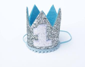 First Birthday Crown Blue & Silver | 1st Birthday | Baby Boy birthday | photo prop smash cake hat | First Birthday party Crown | Photo shoot