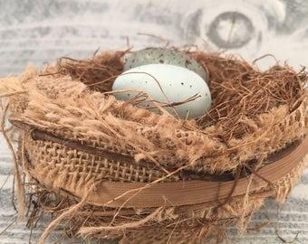 Rustic Handmade Bird Nest With Handmade Speckled Faux Eggs, Farmhouse Country Birds Eggs Craft Supply, Item #508895568
