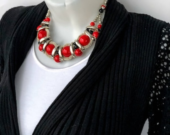 Red coral statement necklace, Unique choker stylish coral necklace, Original red chunky large big pendant necklace, Artisan elegant gift