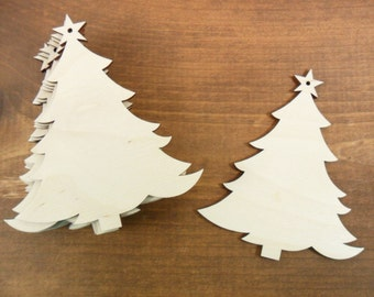 """Wood Tree Ornaments Laser Cut Wood Trees with Star and Hole for Hanging 4"""" x 3 3/8"""" x 1/8"""" - 10 Pieces"""
