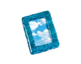 Polymer Clay Tiny Picture Frames, Distressed Photo Frame, Tiny Photo Frame, Miniature Picture Frame, Teal Photo Frame, Teal Bedroom Decor