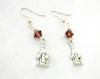 Wine Bottle Earrings Silver Color Dangle Earrings Wine Glass Earrings Purple Glass