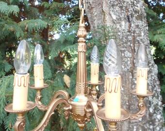 Elegant French Bronze Empire Chandelier