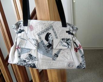 BAG Tote strap printed romantic paris