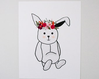 Bunny with Floral Crown - Bunny Art - Wall Decor for Nursery - Baby Room