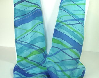 Hand Painted Silk Infinity Scarf, Turquoise & Blue Plaid, Bright Turquoise background with diagonal Plaid stripes in Royal, Green and Navy