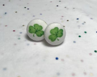 St Patrick's Day | Shamrock | Clover Button Earrings