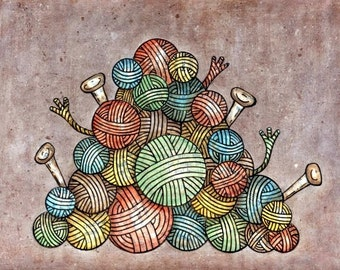 Balls of Yarn 8x10 Mixed Media Reproduction Art Print - Lovin Knit - Pile O' Yarn