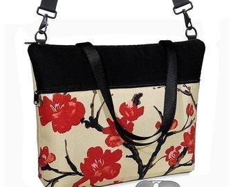"Cherry Blossom 17 inch Laptop Tote Bag Womens Briefcase  Laptop Shoulder Bag 15.6""  pockets zipper Asian red black cream MTO"