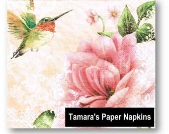4 Decoupage Napkins, Paper Napkins, HUMMINGBIRD PINK, 33cm 13 Inch. Printed Paper Napkins for Decoupage, Collage or Party.