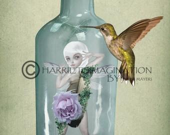 Fairy Art Print | Fairy & Hummingbird | Faery Art | Hummingbird Art | Fantasy Art | Not Long Now