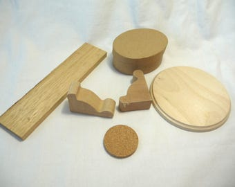 Random Wood Cutouts, Wooden Gables, Round Disk, Round Cork,Wood Strip, Oval Paper Box, Craft Supplies, Destash, Woodworking, Supplies,Unique