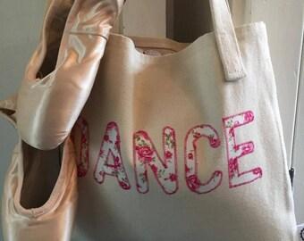dance bag, dance tote bag, ballet bag, ballet tote bag, floral bag, dance accessory
