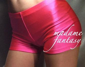 Neon Pink shiny spandex shorts hot pants