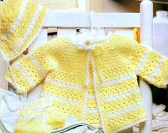 Vintage Crochet Pattern PDF  Baby Matinee Set  Jacket Bonnet Bootees  Layette Coat Hat
