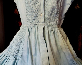 Gorgeous 50s Shirred Cotton Dressw/Sparkling Glass Buttons