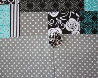 Table runner with button accent, Teal blue/black/white/grey block, 42 x 14