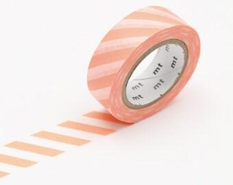 Salmon Pink Stripe Washi Tape • MT Masking Tape • Washi Tape UK • Japanese Stationery • MT Stripe Salmon Pink