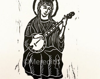 Our Lady of Bluegrass - Banjo Mary Original Linocut 7.5 x 12""