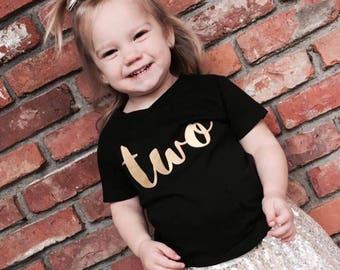 TWO, graphic tee, second birthday, birthday shirt, hipster kid, birthday shirt