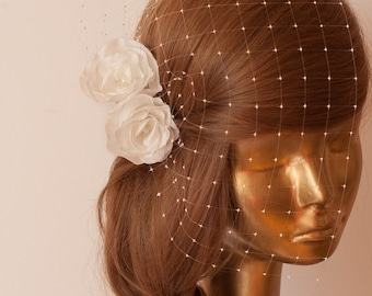 Birdcage Veil. Ivory veil .Romantic wedding Headpiece with beautifull,delicate Flowers.BRIDAL Fascinator