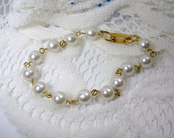 Vintage Glass Pearl Bead Bracelet - Gold and Pearl Bead Bracelet - White Pearl Bead Bracelet