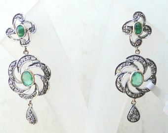 Victorian Diamond & Emerald 14 Ct Gold Silver Earring