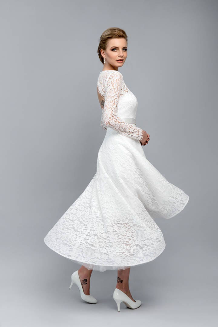 Retro-Hochzeitskleid / Midi Rock Kleid / offene Rückseite