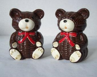Vintage Otagiri Teddy Bear Salt & Pepper Shakers Brown Made in Japan