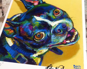 "8.5"" by 11"" Colorful Boston Terrier Art Print by Robert Phelps**Boston Terrier, Boston Terrier art, Boston Terrier art, Boston Terrier decor"