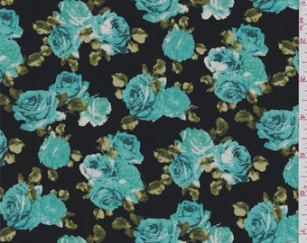 Black/Teal Blue Rose Floral Crepe de Chine, Fabric By The Yard