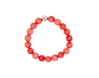 Red Jade stone bracelet, red and silver elastic bracelet, jade stone bracelet, summer jewelry, beach jewelry, Bridesmaid jewelry