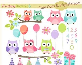 ON SALE Owls clip art,kids birthday clip art,baby owl clip art, invites,cards,scrapbook,chevron,polka dots,INSTANT Download