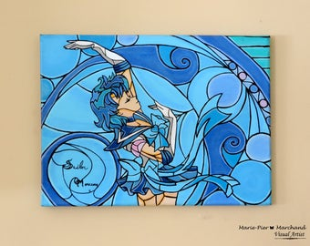 Sailor Mercury  Stained glass Painting