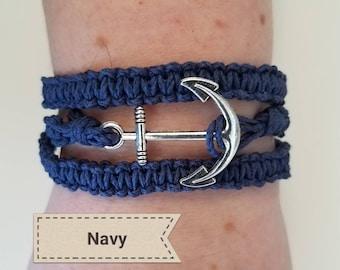 Wrap hemp bracelet with anchor charm